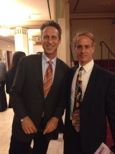 Dr. Mark Hyman with New York City hypnotist and nutritionist Jeffrey Rose at THRIVE: A Third Metric Live Event at City Center